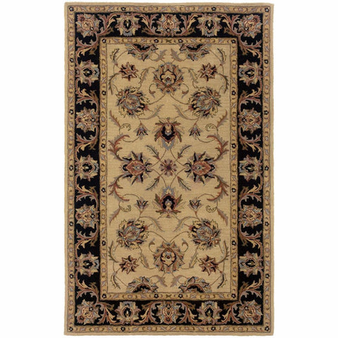 Windsor Ivory Black Oriental Persian Traditional Rug