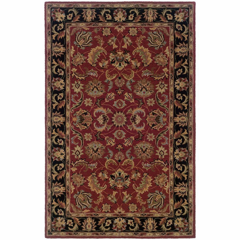 Windsor Red Black Oriental Persian Traditional Rug