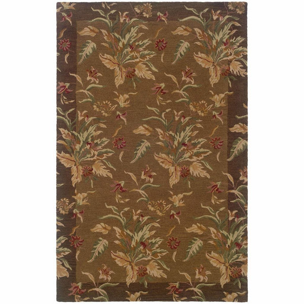 Windsor Tan Brown Floral  Transitional Rug - Free Shipping
