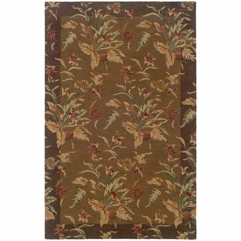 Oriental Weavers Windsor Tan Brown Floral  Transitional Rug