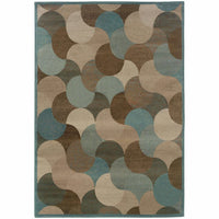 Adrienne Beige Blue Geometric Transitional Rug - Free Shipping