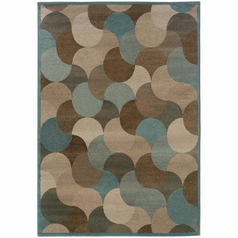 Adrienne Beige Blue Geometric Transitional Rug