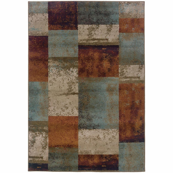 Adrienne Blue Orange Geometric  Transitional Rug - Free Shipping