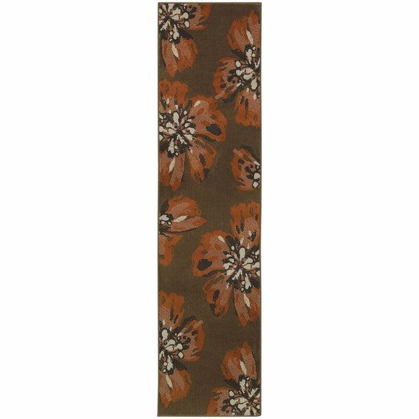 Adrienne Brown Orange Floral  Contemporary Rug - Free Shipping