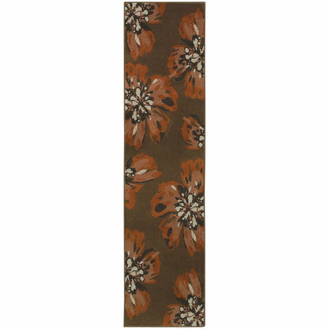 Adrienne Brown Orange Floral  Contemporary Rug