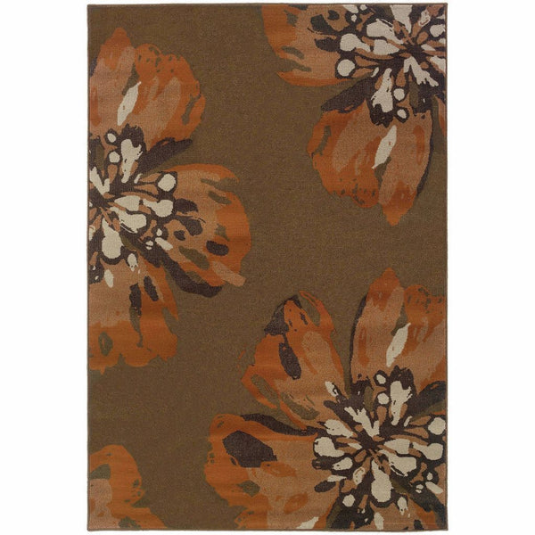 Woven - Adrienne Brown Orange Floral  Contemporary Rug