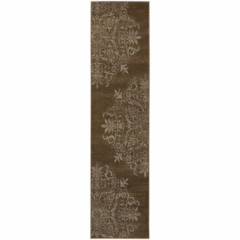 Adrienne Brown Stone Oriental Medallion Transitional Rug
