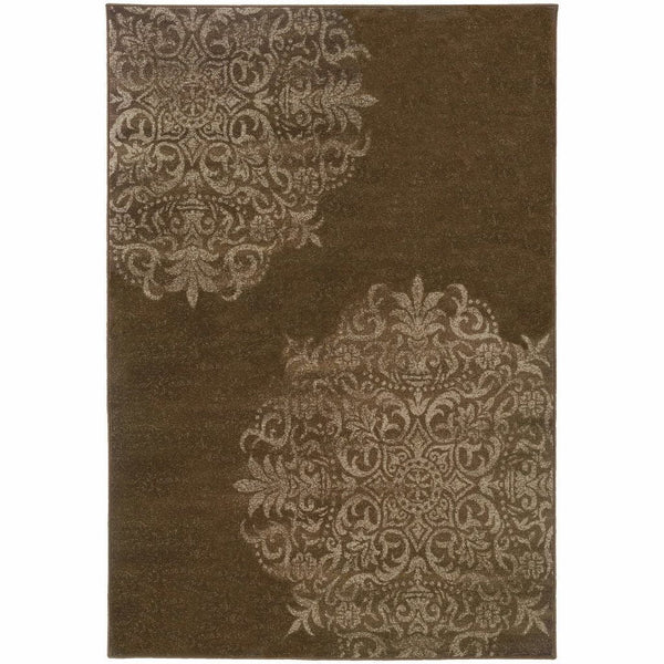 Woven - Adrienne Brown Stone Oriental Medallion Transitional Rug