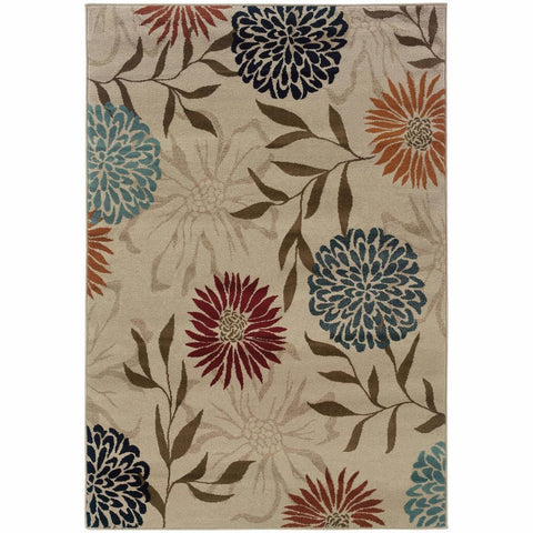 Adrienne Grey Brown Floral  Transitional Rug