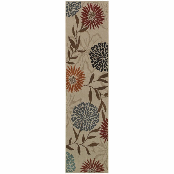 Adrienne Grey Brown Floral  Transitional Rug - Free Shipping