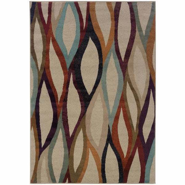 Adrienne Grey Multi Abstract Waves Contemporary Rug - Free Shipping