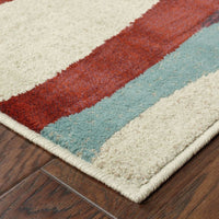 Woven - Adrienne Grey Multi Abstract Waves Contemporary Rug