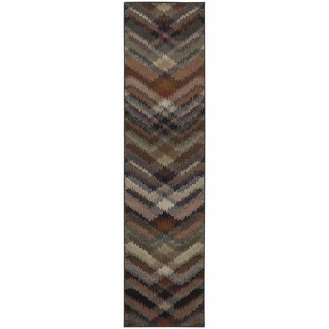 Adrienne Grey Multi Geometric Chevron Transitional Rug