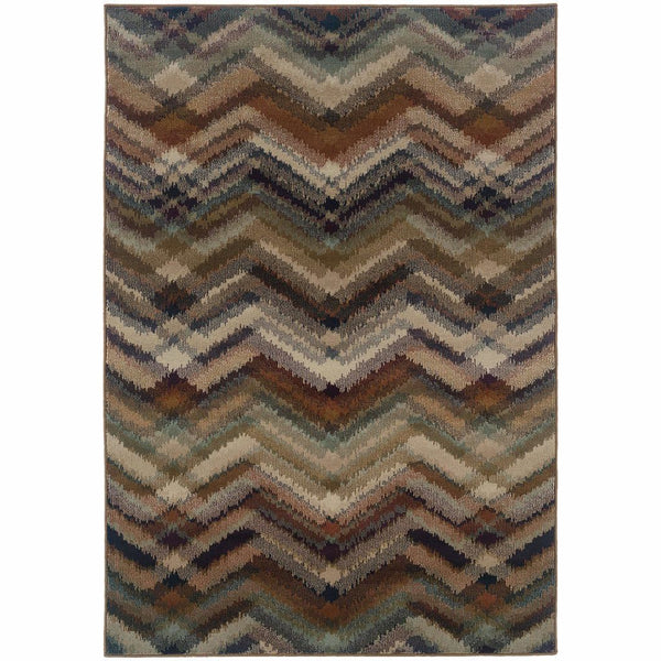 Woven - Adrienne Grey Multi Geometric Chevron Transitional Rug