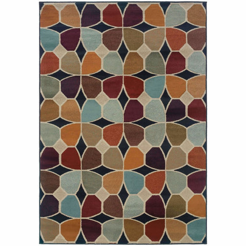 Adrienne Grey Multi Geometric  Transitional Rug