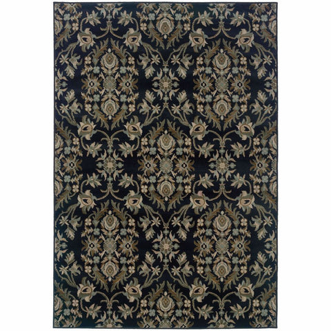 Adrienne Navy Gray Floral  Traditional Rug