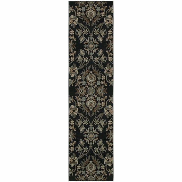 Adrienne Navy Gray Floral  Traditional Rug - Free Shipping