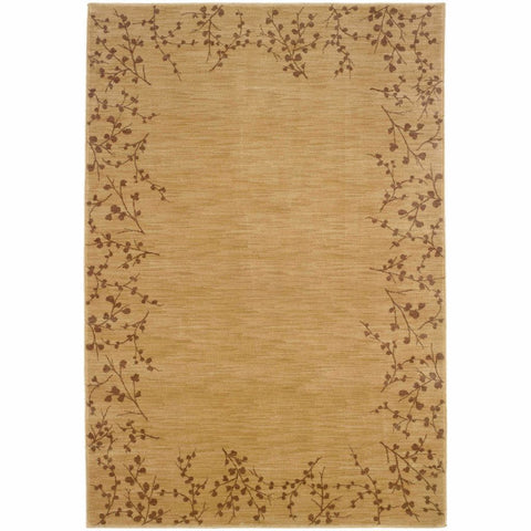 Allure Beige Brown Floral  Transitional Rug