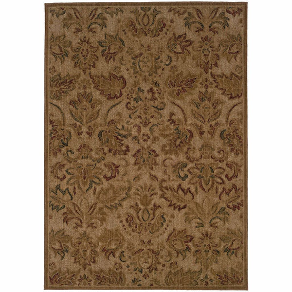 Allure Beige Green Floral  Transitional Rug - Free Shipping