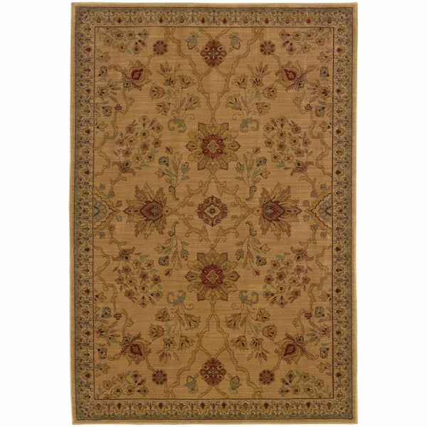 Allure Beige Red Floral  Traditional Rug - Free Shipping