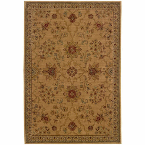 Allure Beige Red Floral  Traditional Rug