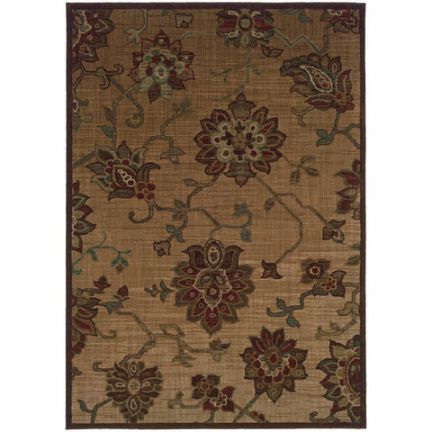 Allure Beige Red Floral  Transitional Rug