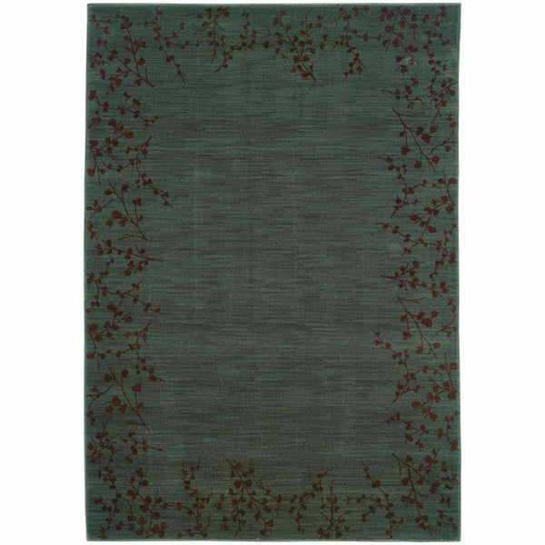 Allure Blue Brown Floral  Transitional Rug - Free Shipping