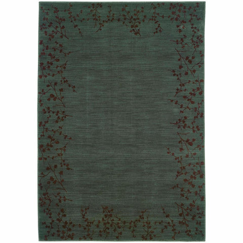 Allure Blue Brown Floral  Transitional Rug