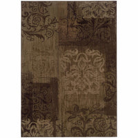 Allure Brown Beige Floral  Transitional Rug - Free Shipping