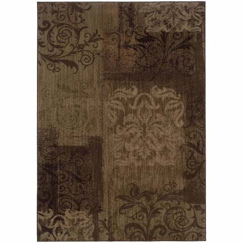 Allure Brown Beige Floral  Transitional Rug