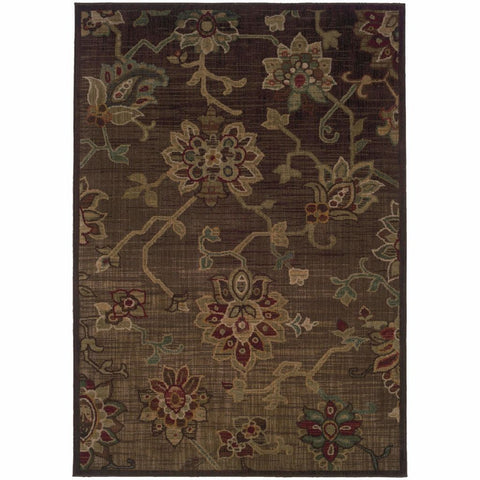 Allure Brown Green Floral  Transitional Rug