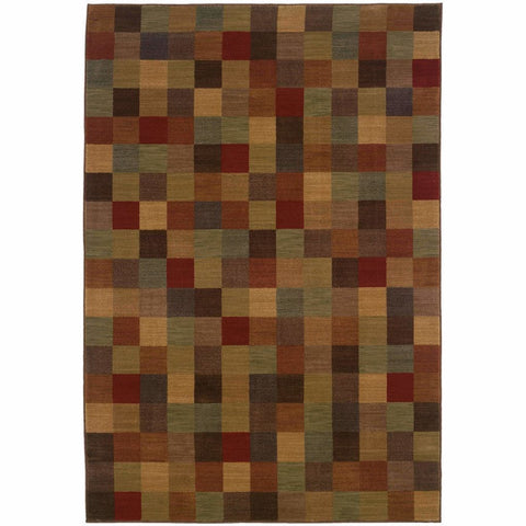 Allure Brown Red Geometric  Contemporary Rug