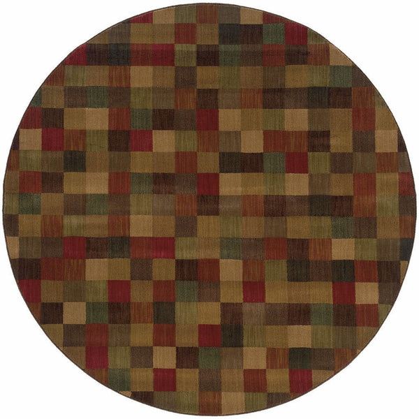 Woven - Allure Brown Red Geometric  Contemporary Rug