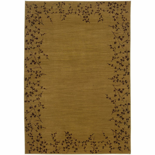 Allure Gold Brown Floral  Transitional Rug - Free Shipping