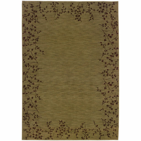 Allure Green Brown Floral  Transitional Rug - Free Shipping