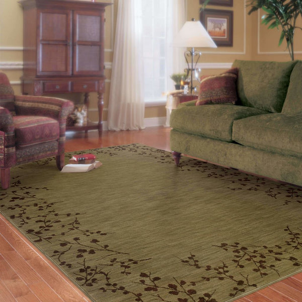 Woven - Allure Green Brown Floral  Transitional Rug
