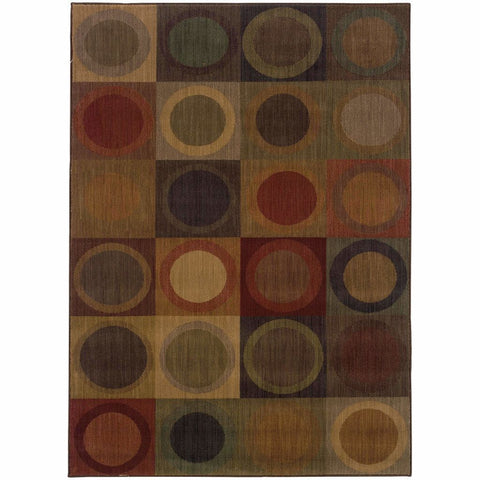 Allure Green Brown Geometric  Contemporary Rug