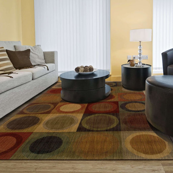 Woven - Allure Green Brown Geometric  Contemporary Rug