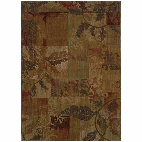 Allure Green Red Botanical Geometric Transitional Rug