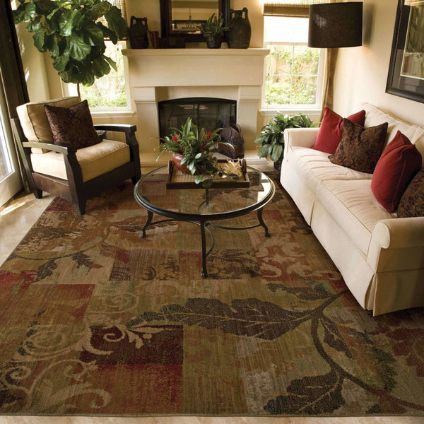 Woven - Allure Green Red Botanical Geometric Transitional Rug