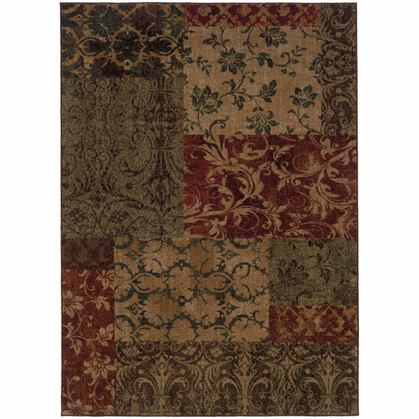 Allure Green Red Floral Geometric Transitional Rug - Free Shipping