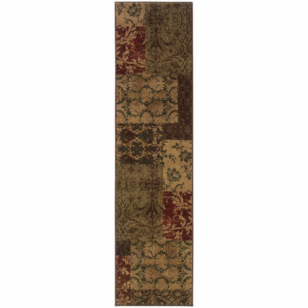 Woven - Allure Green Red Floral Geometric Transitional Rug