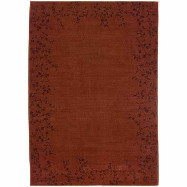 Allure Red Brown Floral  Transitional Rug - Free Shipping