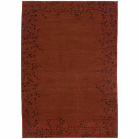 Allure Red Brown Floral  Transitional Rug