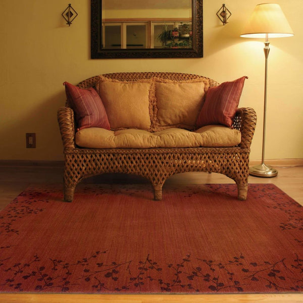 Woven - Allure Red Brown Floral  Transitional Rug