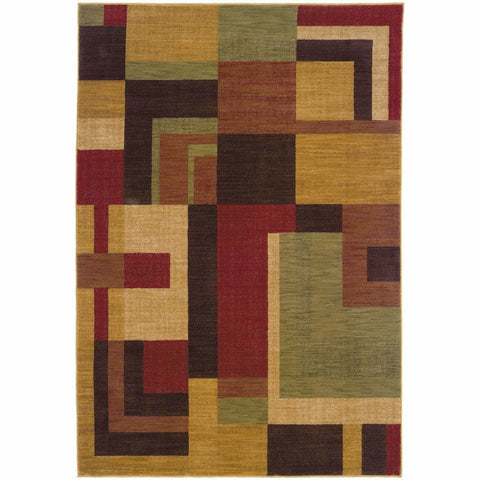 Allure Red Gold Geometric  Contemporary Rug