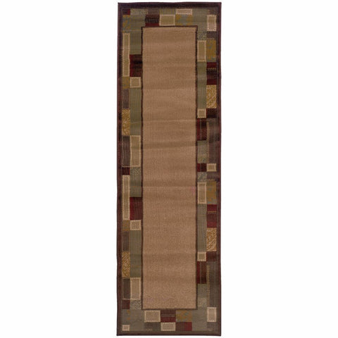 Amelia Beige Brown Geometric Border Transitional Rug
