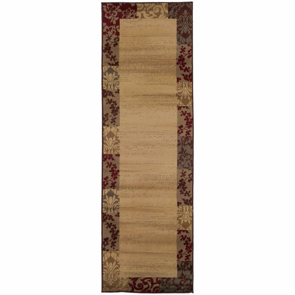 Amelia Beige Red Border  Transitional Rug - Free Shipping