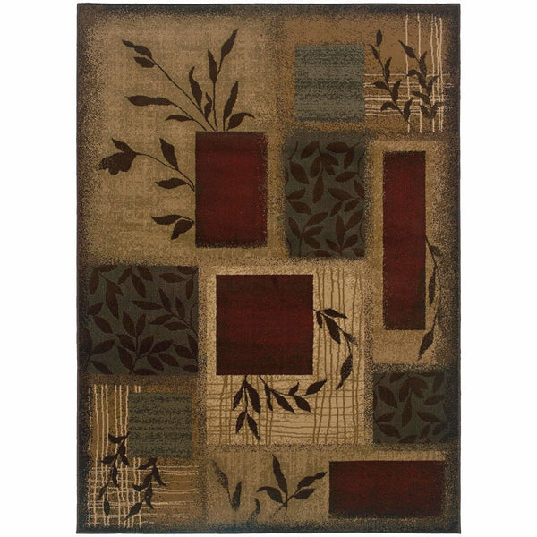Amelia Beige Red Floral  Transitional Rug - Free Shipping