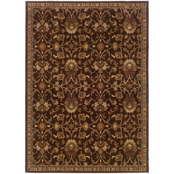 Amelia Brown Beige Floral  Transitional Rug - Free Shipping